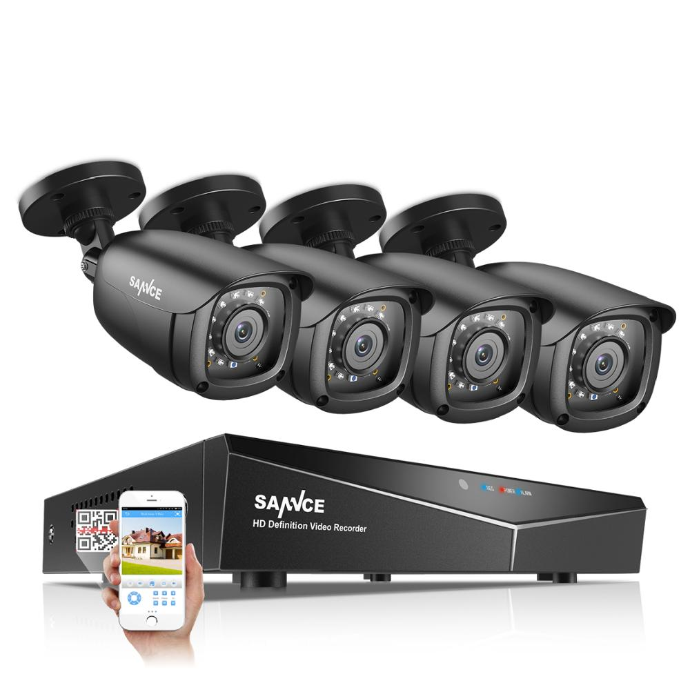SANNCE 4CH 5 IN 1 DVR 1080P Outdoor Weatherproof 2 4 PCS Security Camera Day Night