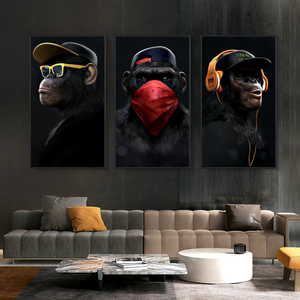 Abstract Modern Glasses Headphone Music Hip Hop Monkey Large Poster Wall Art Pictures Print Canvas Painting Home Decoration