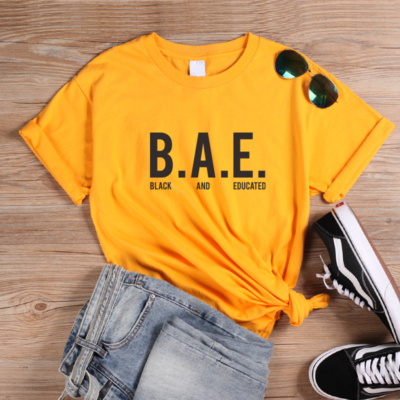 ONSEME Black And Educated T Shirt Unisex Casual Tees Melanin T Shirts Women Hipster Streetwear Slogan t-shirt Black Culture Tops