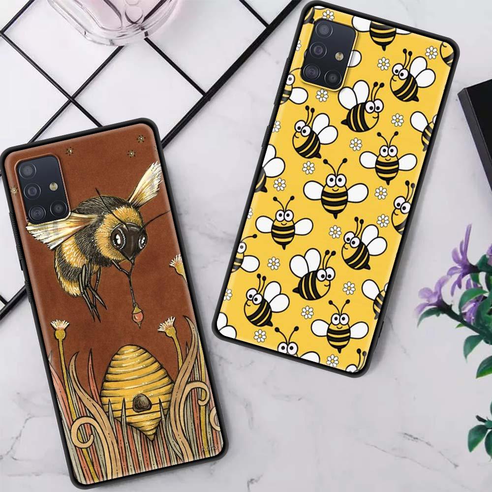 Case For Samsung Galaxy A51 A71 A21s A31 A41 A91 A11 A01 S21 Plus S20 FE Black Shell Phone Coque Bags Bee Art Print Cute Floral