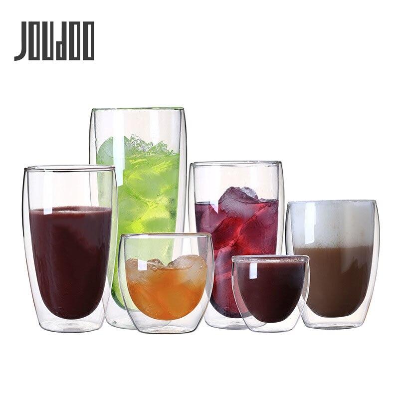 JOUDOO 2/4/6/PCS-resistente ao Calor Parede Dupla Copo De Vidro 80 8/250/ 350/450ml de Cerveja de Café Copos de Água Copo Transparente Atacado 35