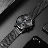 Relógios masculinos de aço inoxidável relógio de quartzo masculino à prova dwaterproof água relogio masculino