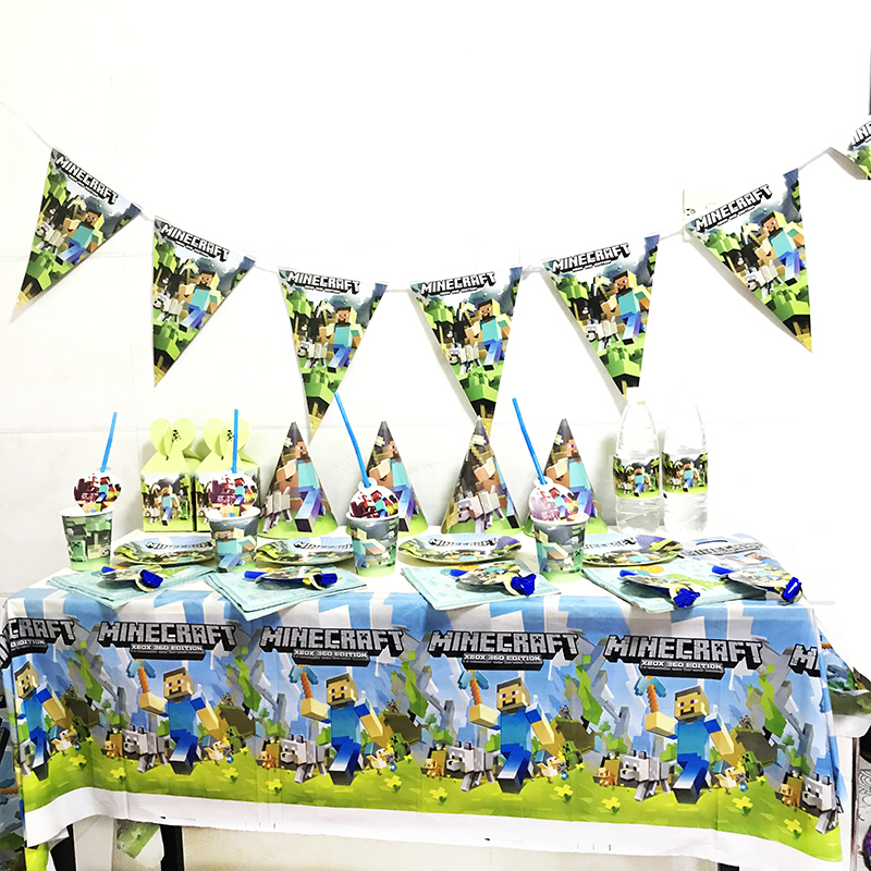 Mining Pixel Game Plates Tablecloth Baby Shower Birthday Party Decoration Supplies Flags Cups Napkin Disposable Tableware Set
