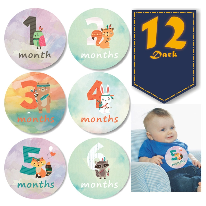 12 Pcs Baby Pregnant Monthly Stickers Newborn Growth Photography Props Cartoons Pattern Memory Recording Milestone Sticker