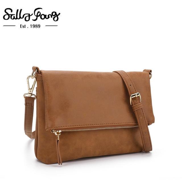 Bolso de hombro suave para mujer, bandolera con solapa, bolso de mano de PU marrón, tipo sobre, bandolera sencilla para uso diario, CT30080