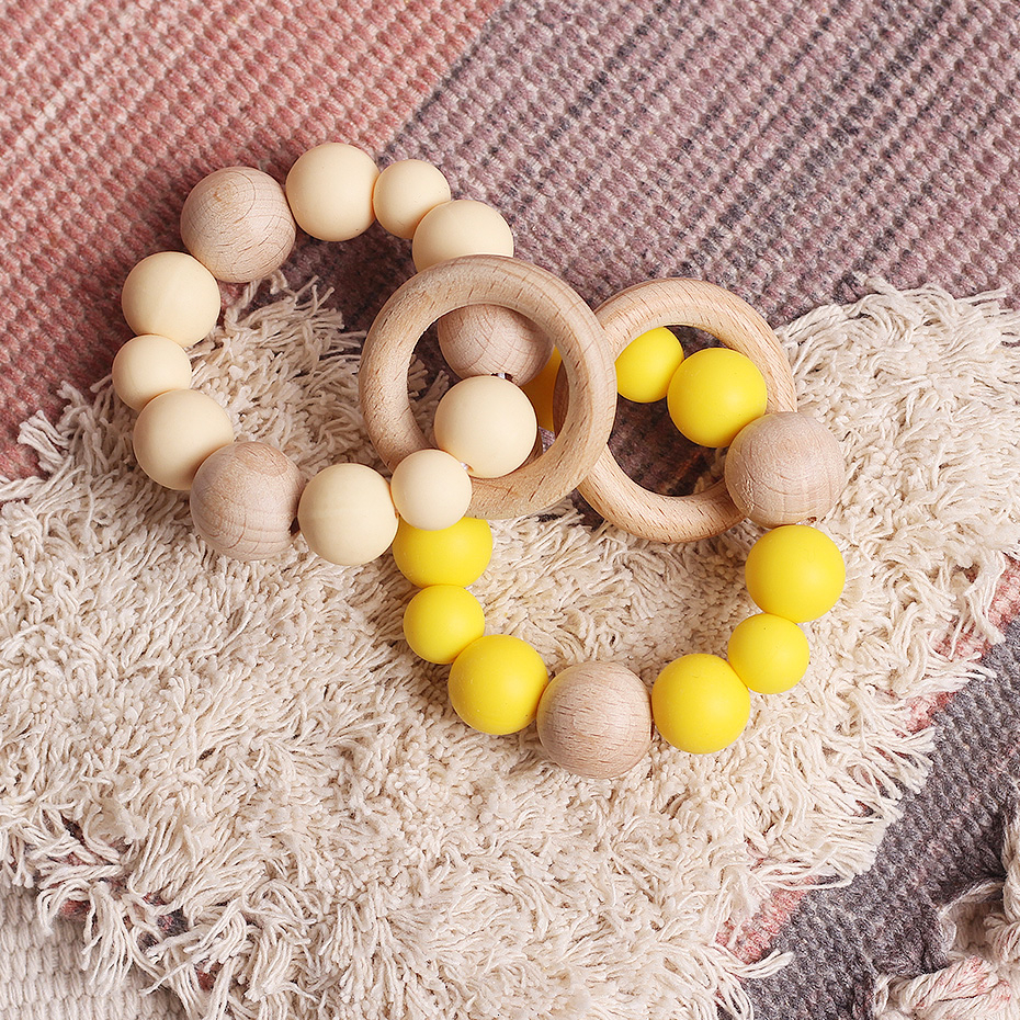 Wooden Rattle Teether Baby Toys  Beech Wood Beads Teether Silicone Beads 15Mm Tiny Rod Baby Crib Rattle