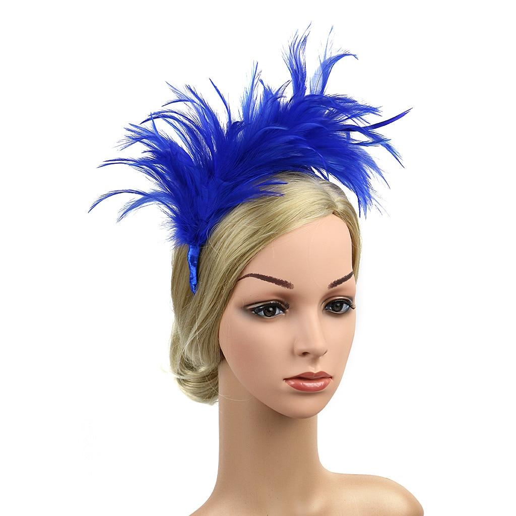 Женский винтажный обруч для волос, цветной обруч с страусиными перьями, аксессуар для волос, 2019