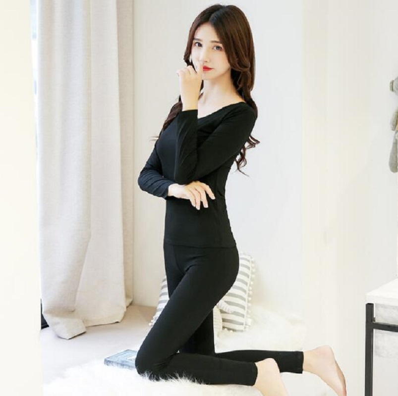 Slimming Sexy Underwear Suit 2pcs/Set Long Johns Lady Seamless Inner Wear Women No Trace Tops Long Pants Female Pajamas Set