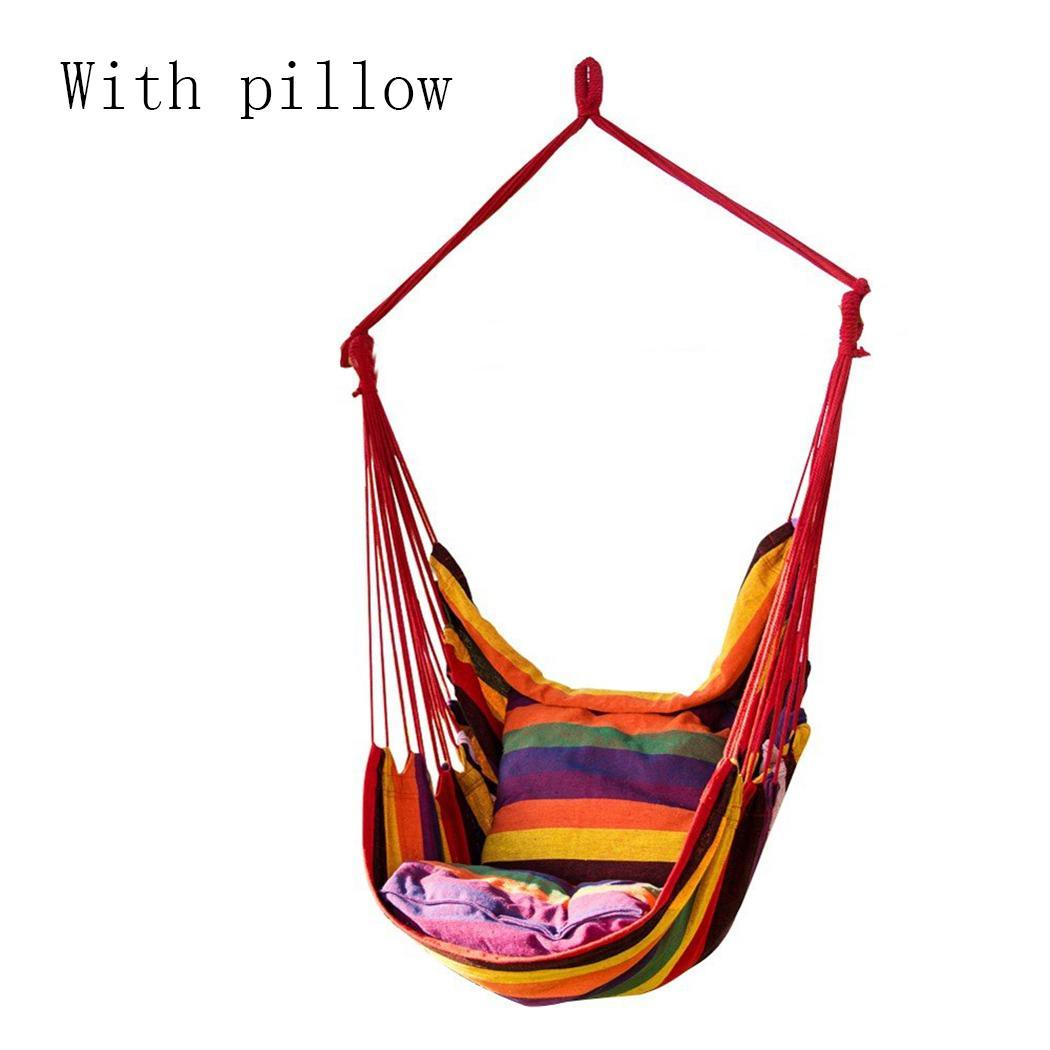 Camping Portable Hammock Canvas Swing Chair Hanging Rope Chair Garden Striped Indoor 150kg (Without Wooden Stick) Outdoor Supply