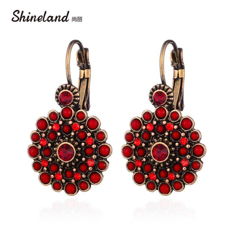 Shineland 2020 новые винтажные Этнические красные черные 2 цвета цветочные серьги женские Подвески Стразы Висячие серьги для женщин бижутерия под...