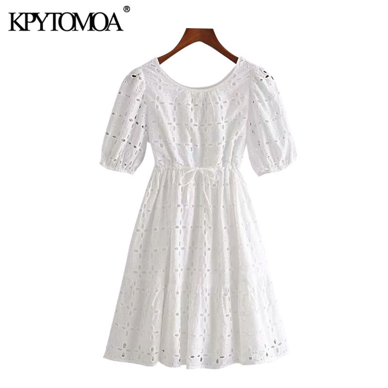 KPYTOMOA Women 2020 Sweet Fashion Hollow Out Embroidery Mini Dress Vintage Adjustable Drawstrings With Lining Female Dresses