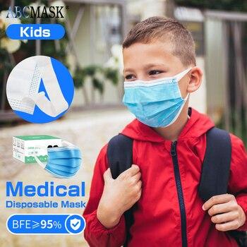 1/200pcs Medical face masks Kids mask disposible 3 ply face mask Filtration Dust Mouth masks for 5-12 Children