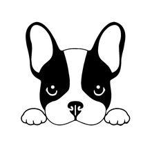 Autocollant de voiture autocollant bouledogue français chien autocollant de voiture pour animaux de compagnie noir/argent 13.5 X12.8 Cm