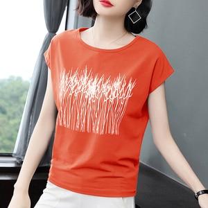 Image 2 - Summer Short Sleeve Tshirts Womens tops Tees 2020 New Loose fitting Cotton T shirts Plus Size Printing Loose Tshirt M 3XL