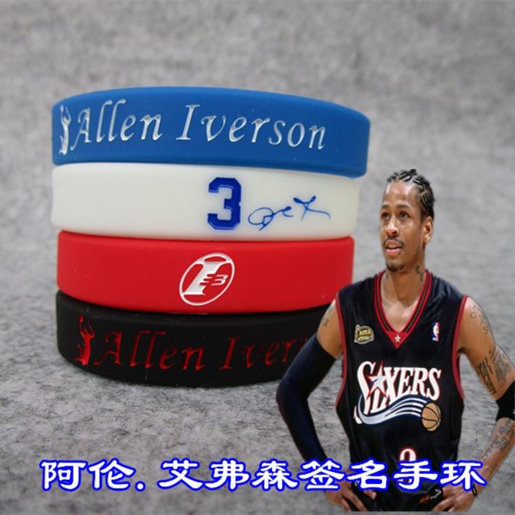 NBA Basketball Star Iverson Signature Thick Signature Edition Sports Bracelet Wrist Strap Kobe Curry James