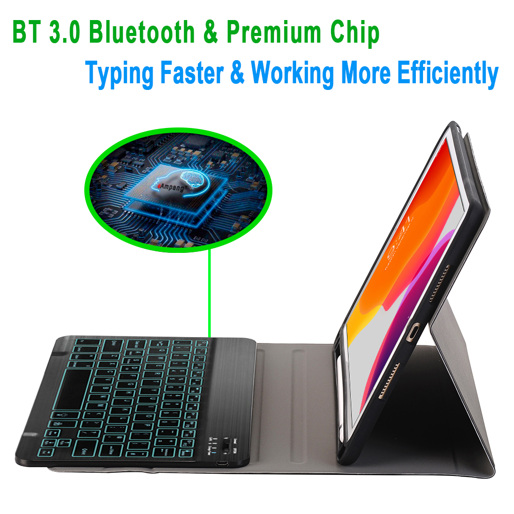 For iPad 10 2 2019 7 7th 8th Generation A2200 A2198 A2197 Case with Backlit Keyboard