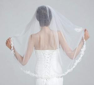"""Image 4 - Velo de novia con peine, 1 nivel, borde de encaje, longitud de la yema del dedo, 36 """", accesorios de novia, velo de marfil"""