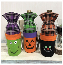 2019 1pc Bottle Cover Drawstring Canteen Chateau Bag Halloween Table Decor Wine  Bags Of Pumpkin Cat Witch