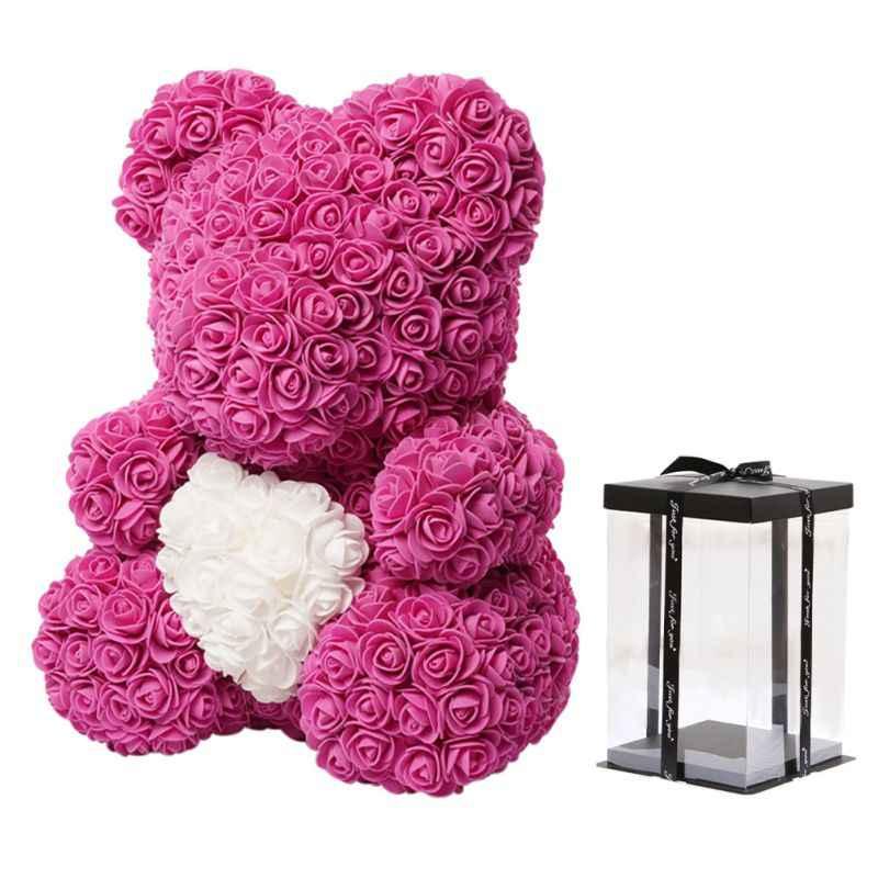40cm pianka mydlana miś róż miś różany kwiat sztuczny nowy prezenty coroczne z pudełkiem dla kobiet walentynki, prezent na boże narodzenie
