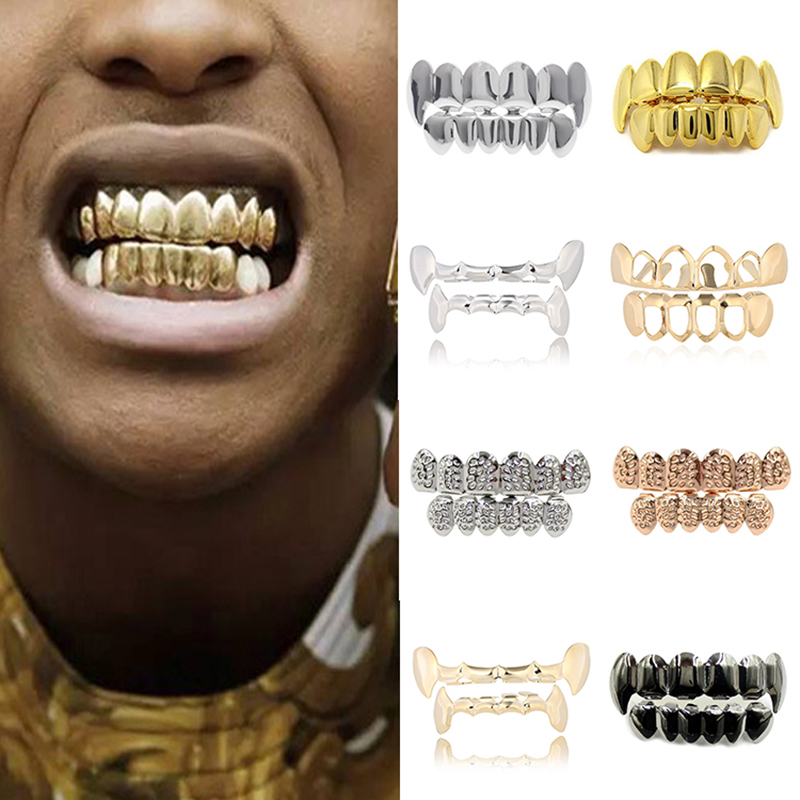 Halloween Cosplay Party Tooth Rapper Hip Hop Golden Teeth Grillz Top & Bottom Grills Dental Mouth Punk Teeth Caps Jewelry Gift image