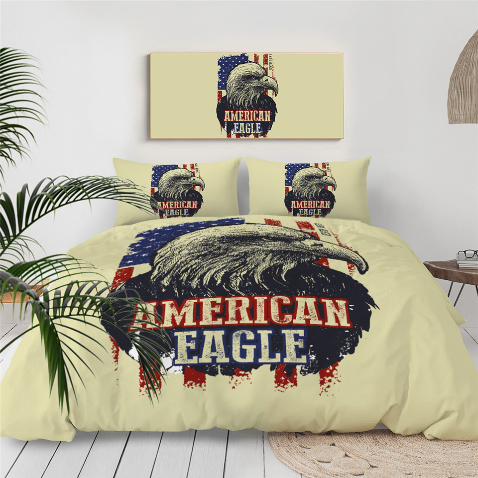 Three Eagles Bedding Set Feathers Dreamcatcher Duvet Cover 3D Printed Bedclothes