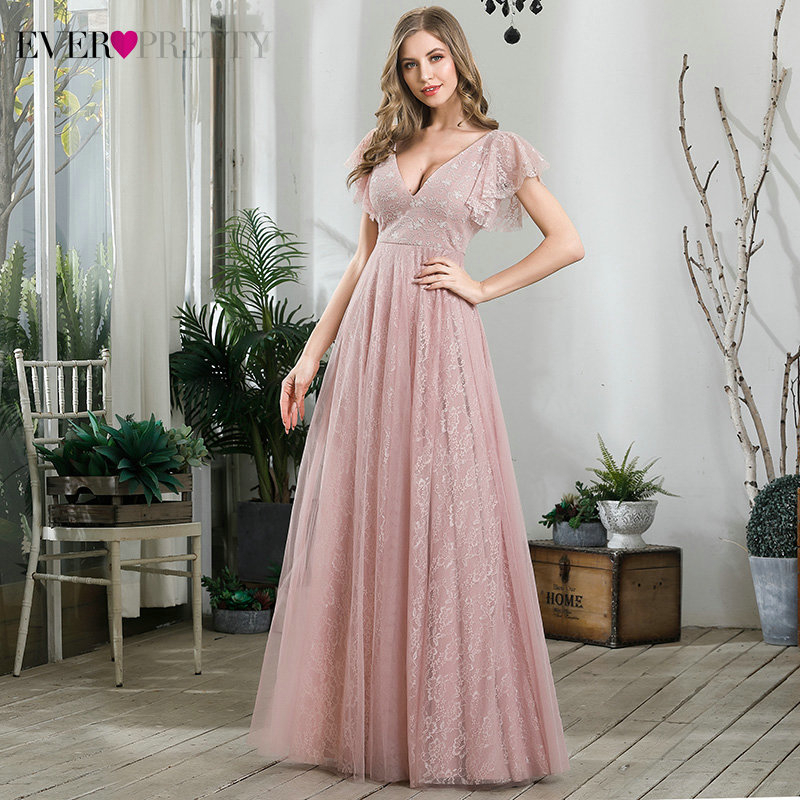Elegant Pink Evening Dresses Long Ever Pretty A-Line Deep V-Neck Ruffles Sleeve Lace Formal Party Gowns Robe De Soiree 2020