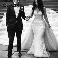 Luxury Mermaid Wedding Dress 2020 Bridal Gown Scalloped Beading Sequins Overskirt Long Train White Bride Dress Custom made