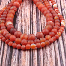Hot?Sale?Natural?Stone?Frosted Red Stripes15.5?Pick?Size?4/6/8/10/12mm?fit?Diy?Charms?Beads?Jewelry?Making?Accessories
