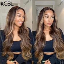 KGBL vurgulamak dalgalı dantel ön İnsan saç peruk 8 ''-24'' brezilyalı bebek saç 180% yoğunluk olmayan remy peruk orta oranı