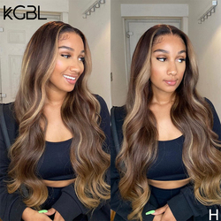 KGBL Highlight Wavy13x6 Lace Front Human Hair Wigs 8''-24'' Brazilian With Baby Hair 180% Density Non-Remy Wigs Medium Ratio