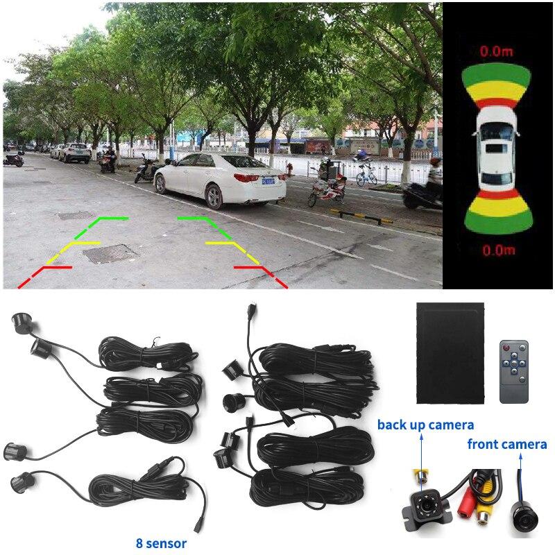 Новейшая двухканальная автомобильная видео Парковочная система заднего радара 8 сенсор + Камера Переднего Вида + камера заднего вида + чехол