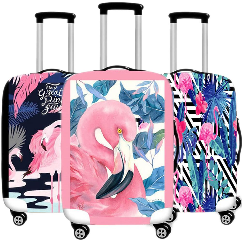 Accessories Travel Cartoon Flamingo Luggage Case Protective Cover Elastic Suitcases Dust Trunk Case Organizadores 18-32 Inch XL