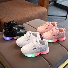 High quality glowing cute baby girls boys shoes hot sales Hook&Loop casual sneakers LED