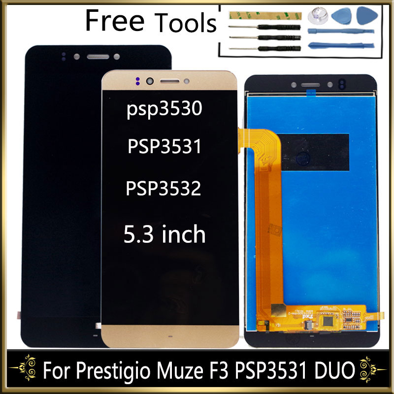 "5.3"" LCD Display For Prestigio Muze F3 PSP3531 DUO PSP 3531 Muze D3 PSP3530 PSP3532 Duo LCD Display with Touch Screen Assembly"