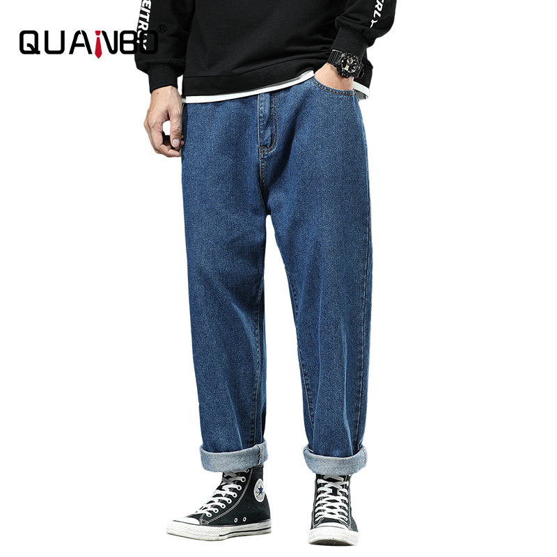 oversized 46 48 42 Men's Loose Ankle Lenght pants Jeans 2020 Fashion Street Hip Hop Distressed Jeans