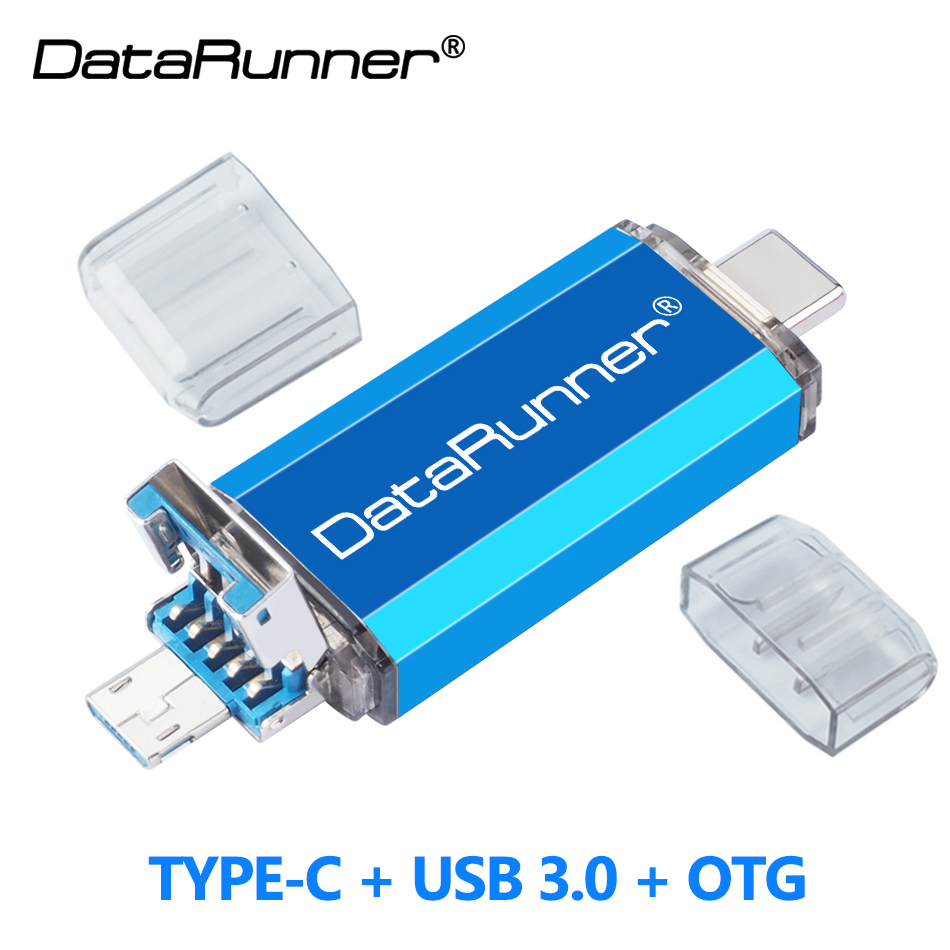 DataRunner 3 In 1 OTG Pendrive USB3.0 & Type-C & Micro USB Flash Drive 512GB 256GB 128GB 64GB 32GB OTG Pendrive USB Memory Stick