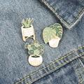 Эмаль на булавке милый кактус алоэ завод Ювелирная брошь сосны блестящий значок броши для Бейджи для одежды, подарок для подруги