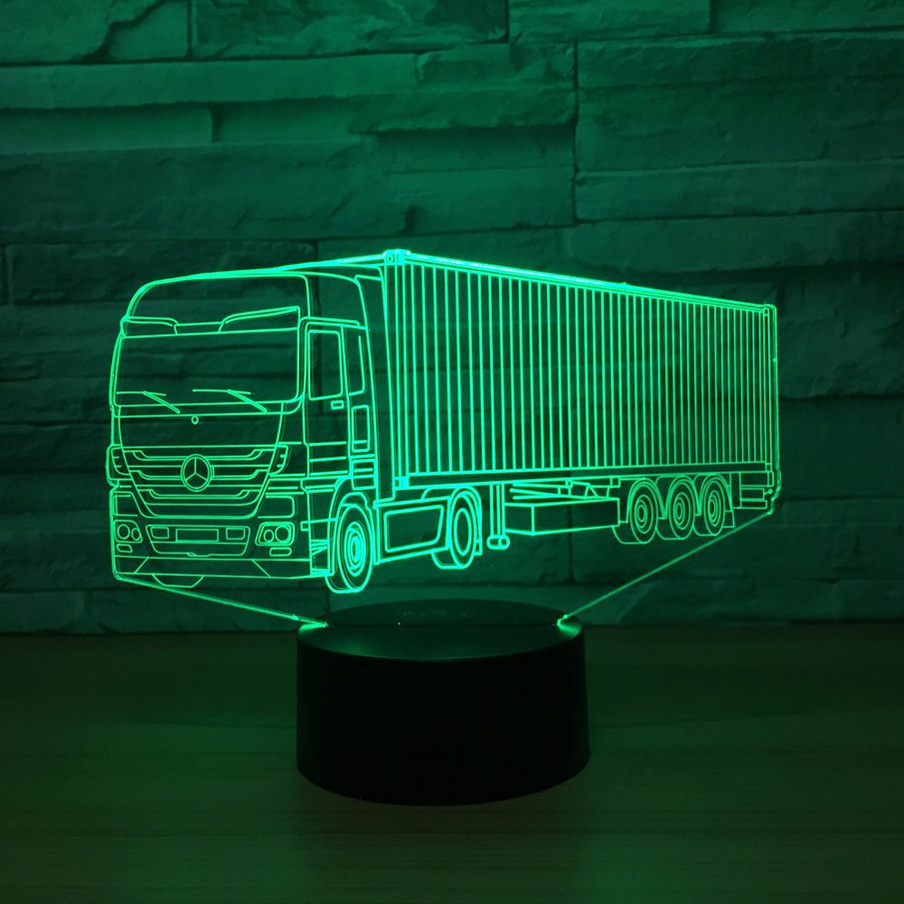 Cool Container Truck 3D 7 Color Lamp Visual Led Night Lights For Kids Touch Usb Table Lampara Lampe