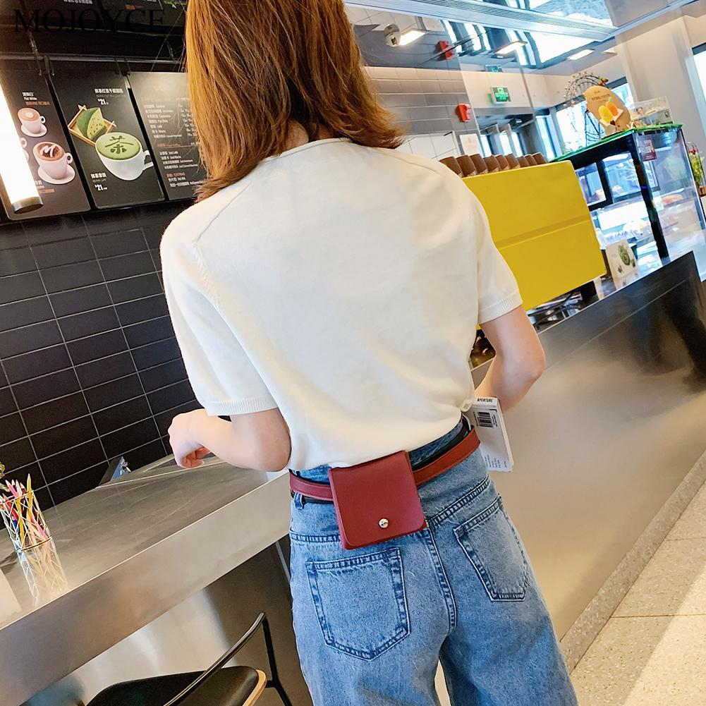 Solid PU Leather Chest Bags Fashion Small Square Zipper Cute Waist Pack Women Casual Comfortable Single Layer Bags