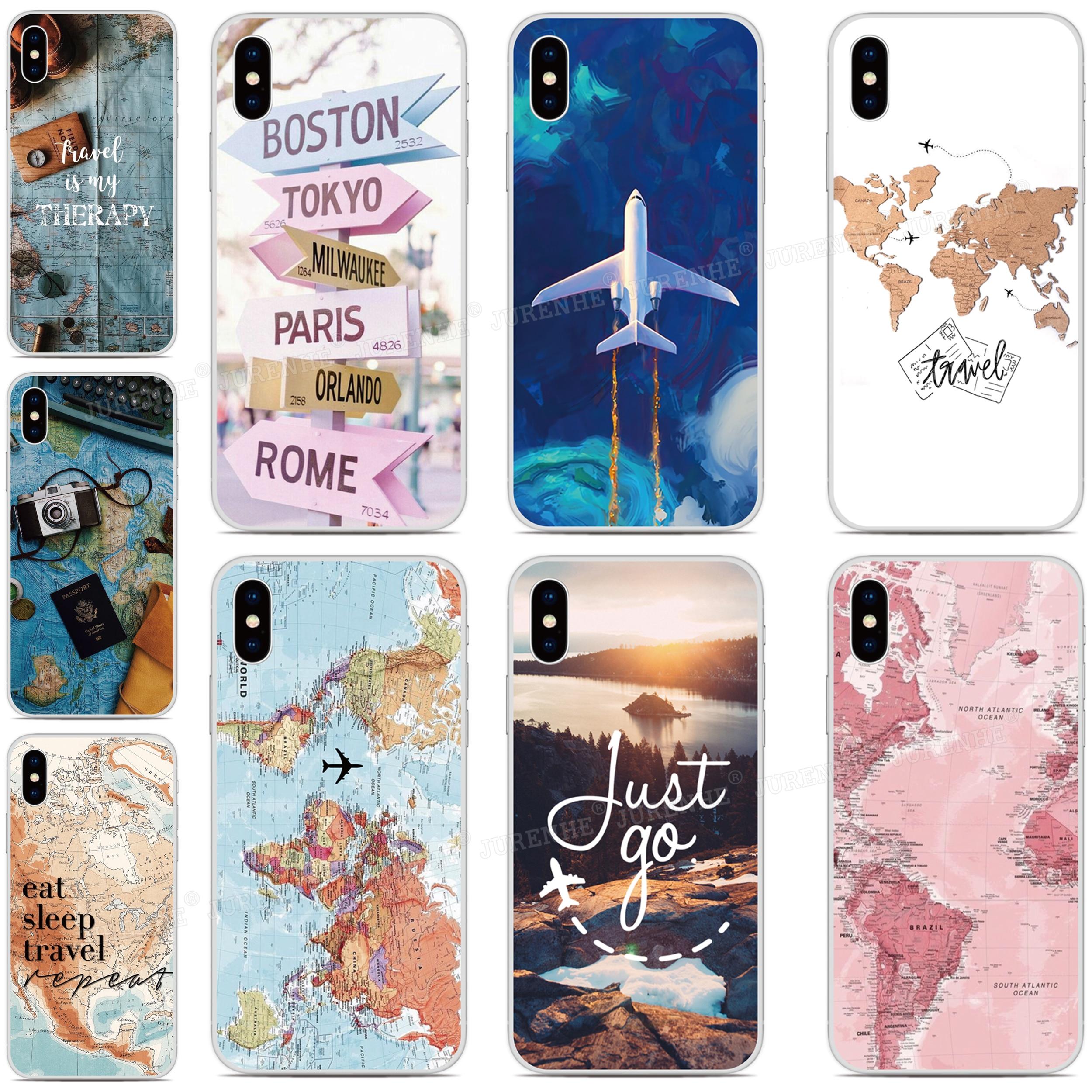 World Map Plane Cover For LG Q70 K61 K51s K50s K40s Q60 K50 K40 K30 K20 Stylo 5 4 G7 G8 G8X G8S V50 V60 V50s Thinq Phone Case