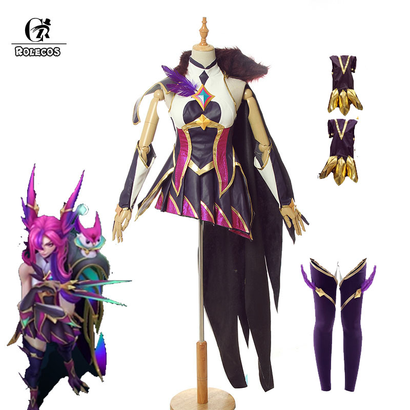 ROLECOS Game LOL Xayah Cosplay Costume Star Guardian Xayah Cosplay Costumes Purple Sexy Women Halloween Shoes Cover Suit Uniform