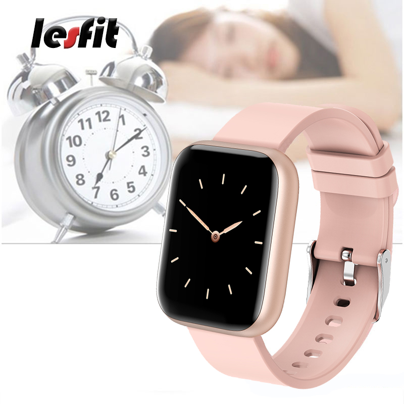 lowest price Lesfit Pink Stainless Steel Smart Women Watch For Android Electronics Smartwatch Men Clock Fitness HR BP Rate Tracker Wristbands