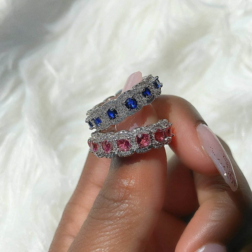 Original 925 Sterling Silver natural Blue Sapphire ruby RING finger Luxury Wedding Engagement Gemstone Rings for Women Jewelry