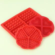 DIY Waffle Mold Model Nonstick Kitchen Cake Making Accessories Hot Baking Tool 4 Red Hearts 1pcs