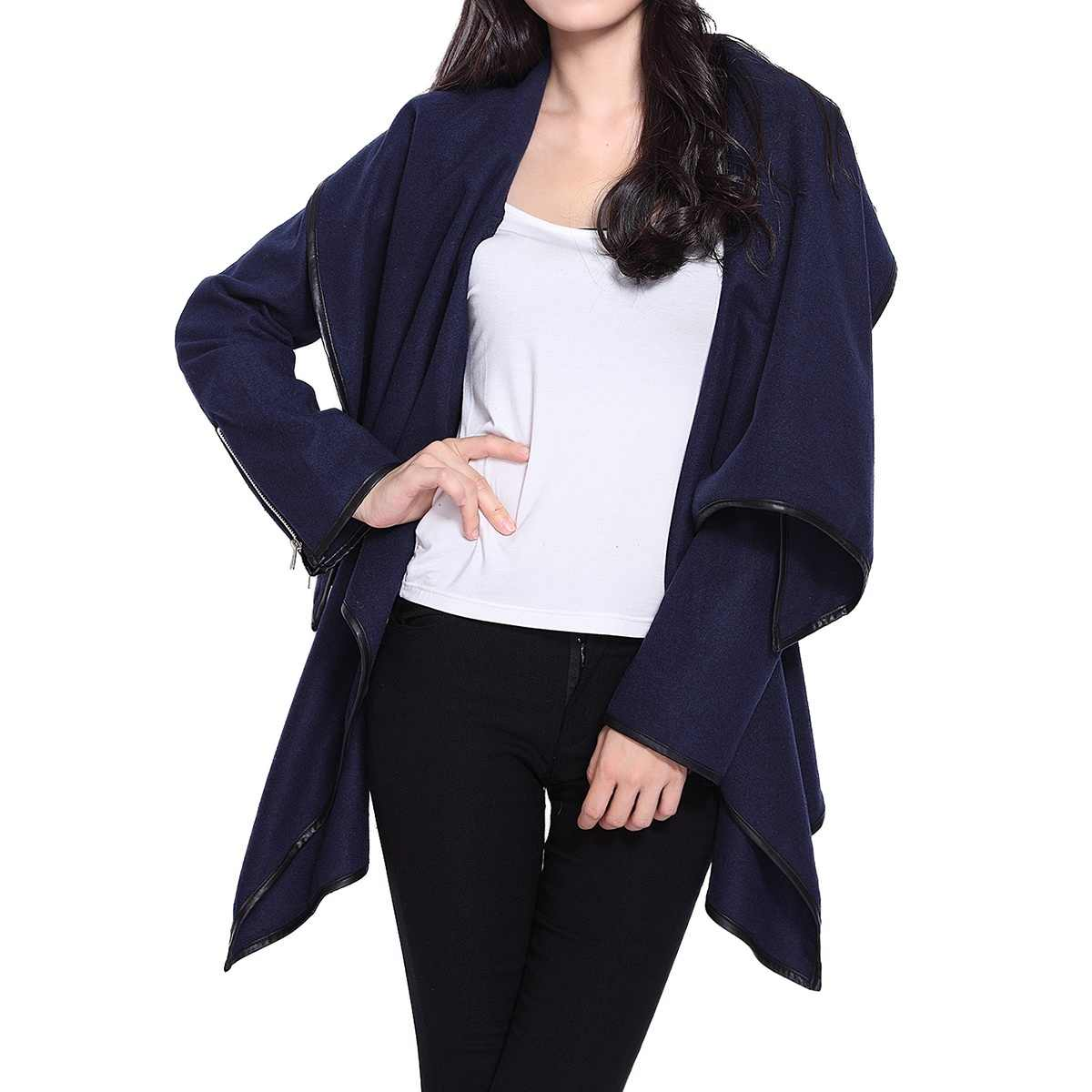 Kenancy Stylish Solid Color Women Causal Trench Coats Autumn Lapel Long Sleeves Female Outwear One Button Asymmetric Femme Coat
