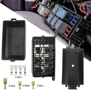Universal DC 12V Car Truck Boat 6-Way Relay+ 6-Slot Blade Fuse Box Automobile Vehicle Fuse Holder Block With Terminals Hot Sale image