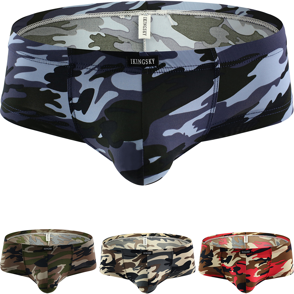 IKingsky Men's Camouflage Cheeky Boxer Sexy Mini Cheek Underwear Stretch Brazilian Back Mens Under Panties