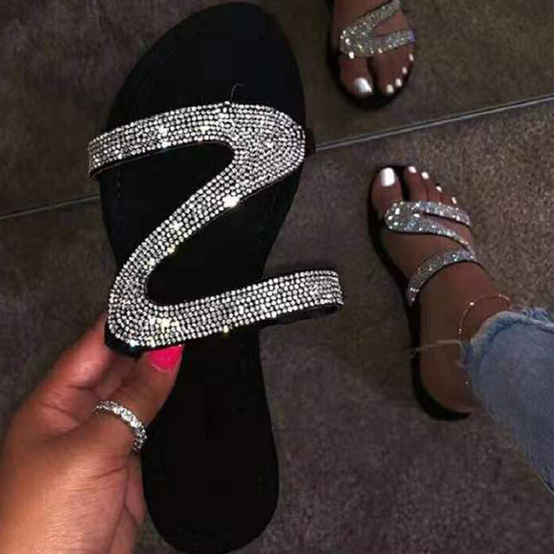 2020 Women Summer Flat Slippers Rhinestone Shoes OpenToe Roman Beach Sandals Ladies Sexy Flip Flops Black Non-slip Slides