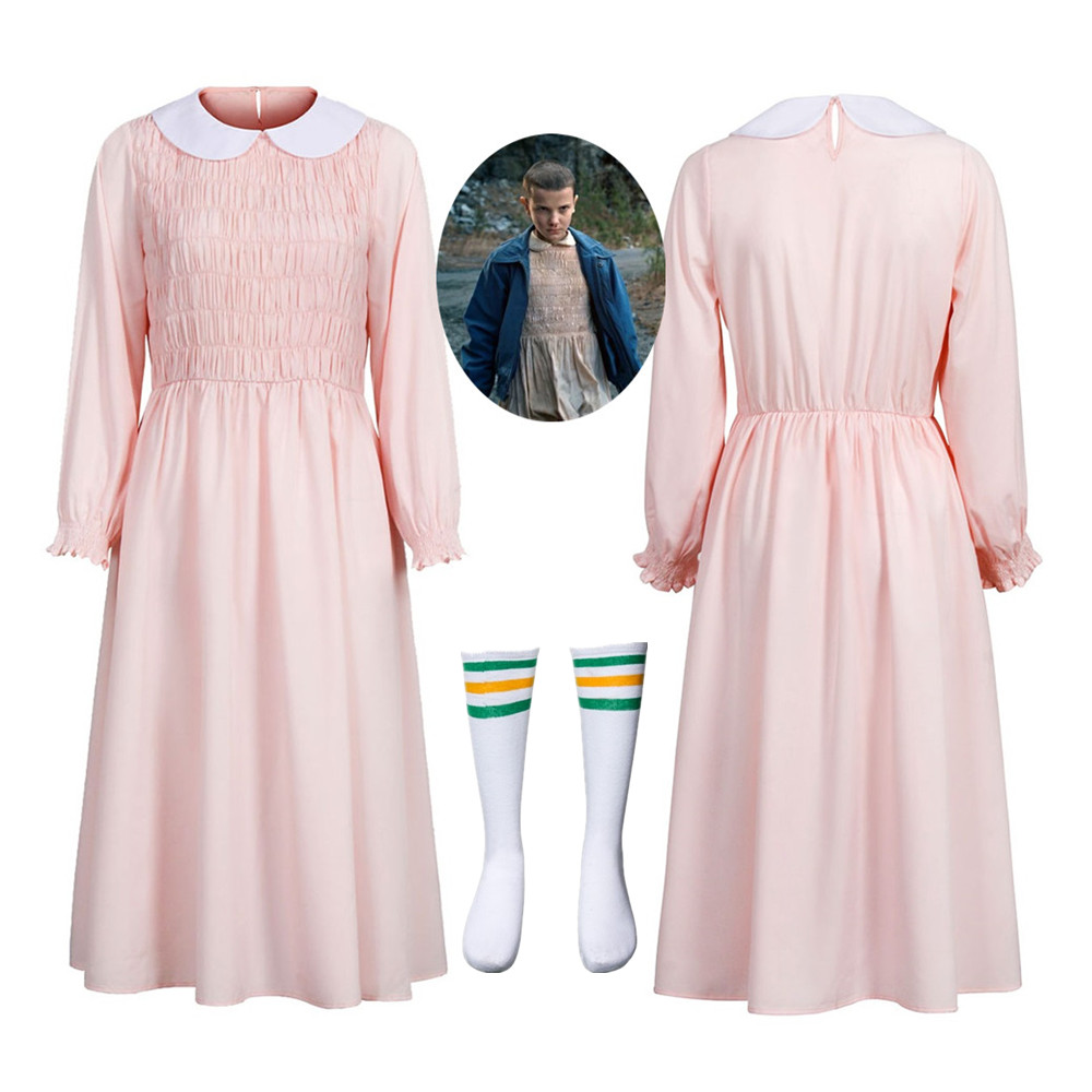 Eleven's Long Sleeve Pink Dress Costume For Stranger Things Halloween Cosplay Women Girl Doll Collar Evening Party Beading Dress