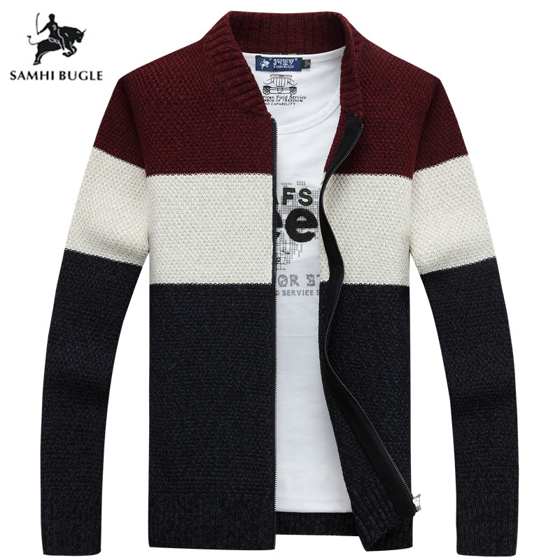 Brand Clothing Thicken Winter Sweater Men Pattern Striped Zipper Warm Outwear Jacket Wool Liner Cardigan Men
